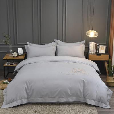 2019新款60S全棉磨毛色织绣花四件套 2.0m(6.6英尺)床单款 凯蒂-布鲁灰