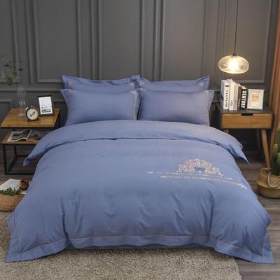 2019新款60S全棉磨毛色织绣花四件套 2.0m(6.6英尺)床单款 凯拉蒂-蔚蓝