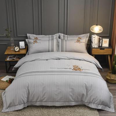 2019新款60S全棉磨毛色织绣花四件套 2.0m(6.6英尺)床单款 维尼小熊-浅灰