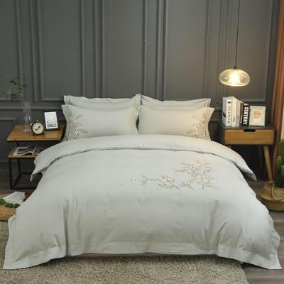 2019新款60S全棉磨毛色织绣花四件套 2.0m(6.6英尺)床单款 绽放-奶咖