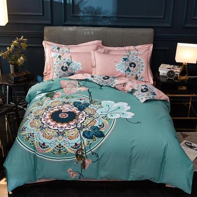 2020新款13372全棉活性大版四件套 1.2m床单款三件套 夕月幽窗