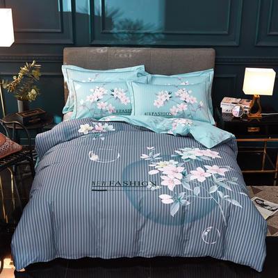 2020新款13372全棉活性大版四件套 1.2m床单款三件套 香草蝶