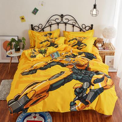 2020新款13372全棉卡通印花四件套(电子图) 1.2m直角床单款三件套 新大黄蜂
