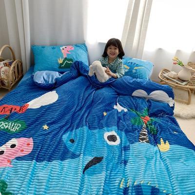 2020新款大版卡通-魔法绒+水晶绒四件套 1.2m床单款三件套 晚安恐龙