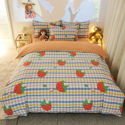 2020新款全棉生态磨毛四件套—小清新系列 1.2m直角床单款三件套 草莓