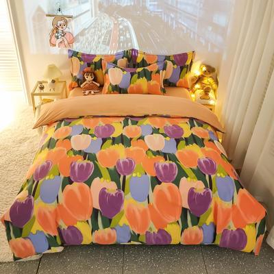 2020新款全棉生态磨毛四件套—小清新系列 1.2m直角床单款三件套 浪漫朵朵