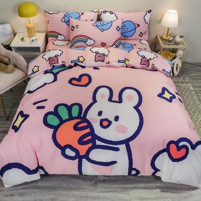 2020新款13372全棉卡通印花四件套电子图 1.5m圆角贴边床单款四件套 萝卜兔兔