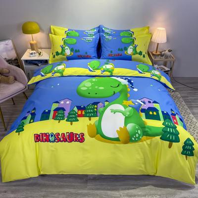 2021新款大版全棉平网系列四件套 1.5m圆角贴边床单款四件套 晚安恐龙