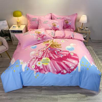 2021新款大版全棉平网系列四件套 1.5m圆角贴边床单款四件套 仙蒂公主