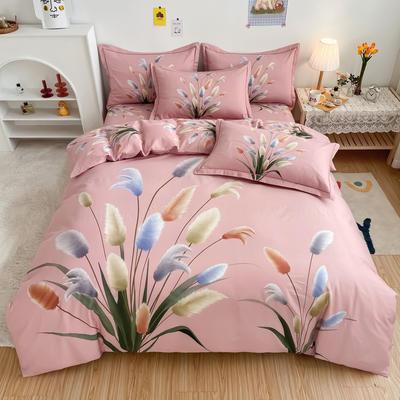 2021新款全棉13372四件套—花卉系列 1.5m圆角贴边床单款四件套 闻香粉
