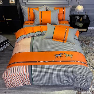 2020新款全棉13372北欧简约条格款四件套 1.5m圆角贴边床单款四件套 奥斯丁