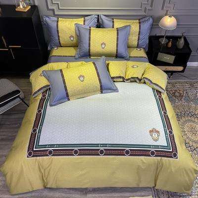 2020新款全棉13372北欧简约条格款四件套 1.5m圆角贴边床单款四件套 巴赫