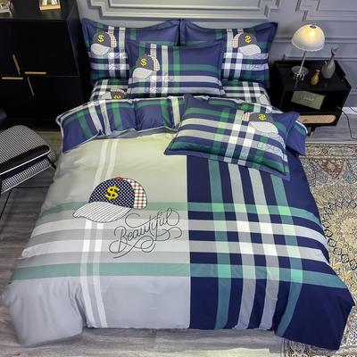 2020新款全棉13372北欧简约条格款四件套 1.5m圆角贴边床单款四件套 潮流