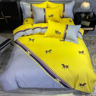 2020新款全棉13372北欧简约条格款四件套 1.5m圆角贴边床单款四件套 爵士