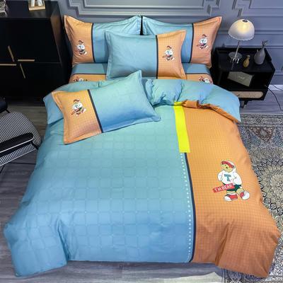2020新款全棉13372北欧简约条格款四件套 1.5m圆角贴边床单款四件套 沙文
