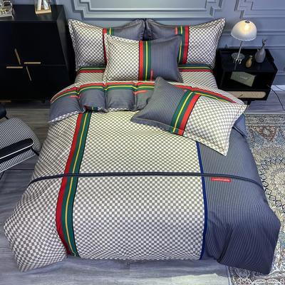 2020新款全棉13372北欧简约条格款四件套 1.5m圆角贴边床单款四件套 温情北欧