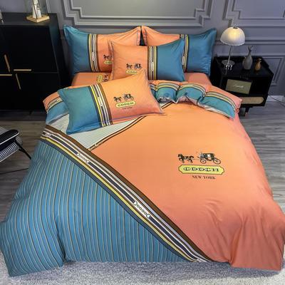 2020新款全棉13372北欧简约条格款四件套 1.5m圆角贴边床单款四件套 皇家绅士