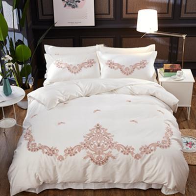 2018新款长绒棉欧式刺绣四件套 1.8m床笠款 蔓珠华莎2