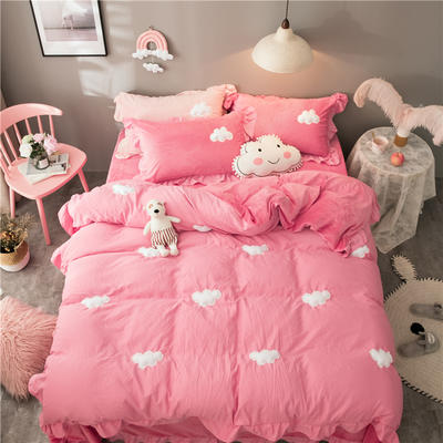 2018新款棉加绒云朵立体绣四件套 1.2m(4英尺)床(床单款) 粉色