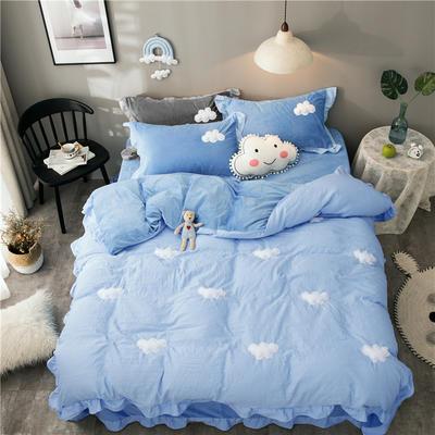 2018新款棉加绒云朵立体绣四件套 1.2m(4英尺)床(床单款) 蓝色