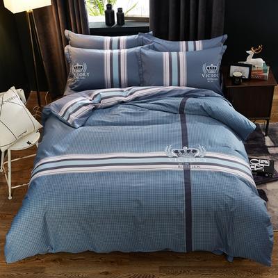 2019新款13372全棉大版匹马棉四件套 1.8m(6英尺)床 简单生活