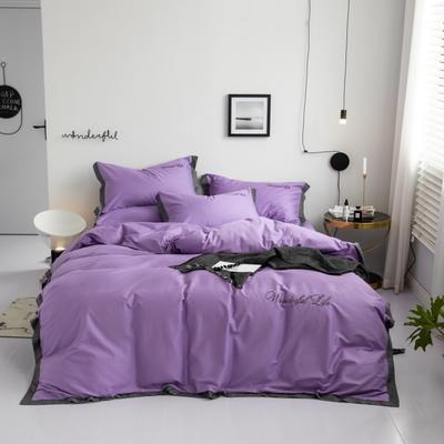 2019新款 全棉工艺宽边纯色刺绣四件套 1.8m 床单款四件套 摩登紫