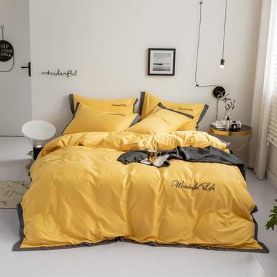 2019新款 全棉工艺宽边纯色刺绣四件套 1.8m 床单款四件套 气质黄