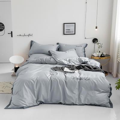2019新款 全棉工艺宽边纯色刺绣四件套 1.8m 床单款四件套 时尚灰