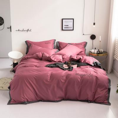 2019新款 全棉工艺宽边纯色刺绣四件套 1.8m 床单款四件套 绚丽红