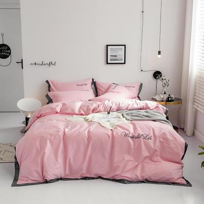 2019新款 全棉工艺宽边纯色刺绣四件套 1.2m 床单款三件套 艳丽粉