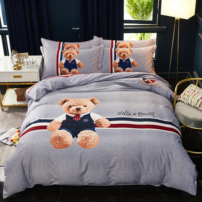 2019新款全棉大版生态磨毛四件套 1.5m-1.8m床单款 星光熊