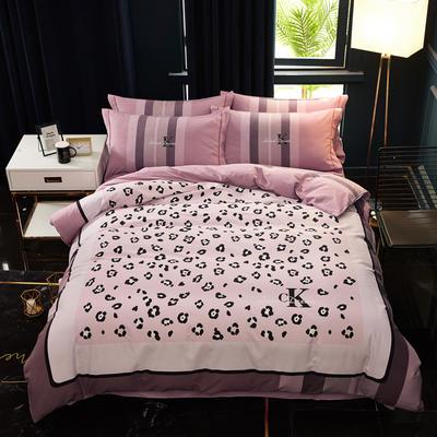 2019新款全棉大版生态磨毛四件套 1.5m-1.8m床单款 粉红豹