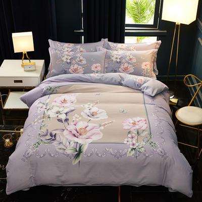 2019新款全棉大版生态磨毛四件套 1.5m-1.8m床单款 花之记忆  紫