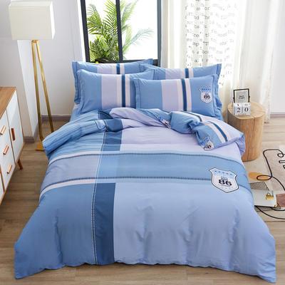 2020新款全棉全棉13372大版四件套 1.2m(4英尺)床单款三件套 海蓝