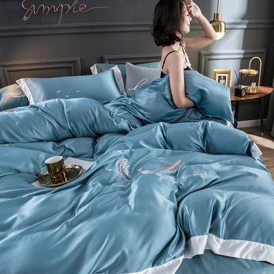 2020水洗真丝羽毛款四件套 1.5m床床单款 羽毛-湖蓝