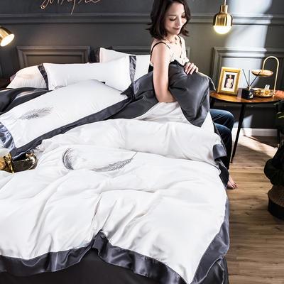 2020水洗真丝羽毛款四件套 1.5m床床单款 羽毛-米白