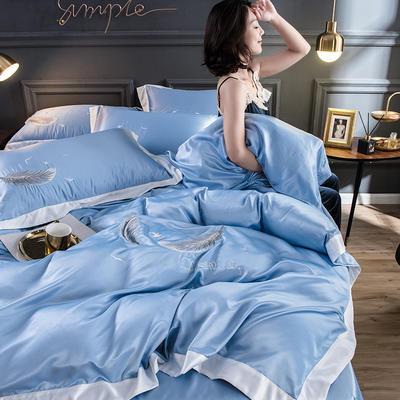 2020水洗真丝羽毛款四件套 1.5m床床单款 羽毛-天蓝