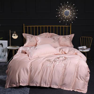 2020新款60S长绒棉刺绣四件套 1.5m(5英尺)床 粉黛欢颜-粉