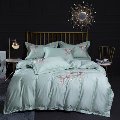 2020新款60S长绒棉刺绣四件套 1.5m(5英尺)床 粉黛欢颜-绿