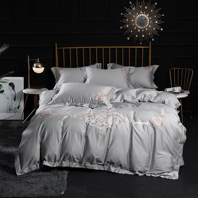 2020新款60S长绒棉刺绣四件套 1.5m(5英尺)床 图兰朵-银灰