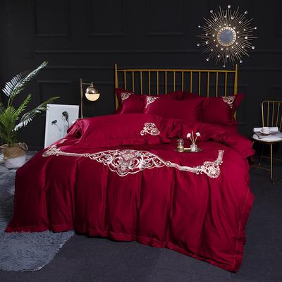 2020新款60S长绒棉刺绣四件套 1.5m(5英尺)床 图兰朵-大红