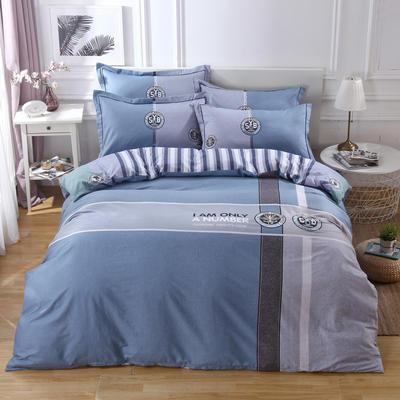 2020新款全棉全棉13372大版四件套 1.5m(5英尺)床单款 科蓝