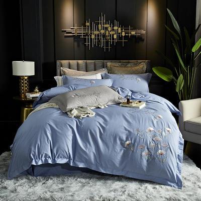 2020全工艺肌理纹全棉刺绣四件套 1.5m(5英尺)床单款 飘-蓝