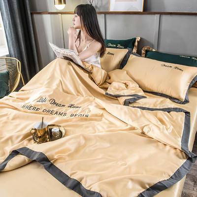 2020新款水洗真丝简爱系列夏被四件套 150x200cm单夏被 简爱-卡其