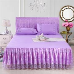 春夏新款蕾丝床裙床罩床头罩席梦思防滑套被套枕套三件套四件套 180cmx200cm 卷帘珠