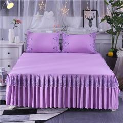 2018新款斜纹水洗棉单床裙 1.8*2.2单床裙 浪漫紫