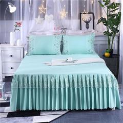 2018新款斜纹水洗棉单床裙 1.5*2.0单床裙 水晶绿