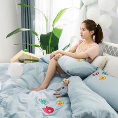 夏舍生活馆 天丝棉提加绣西件套 1.5m(5英尺)床 布朗尼 浅蓝