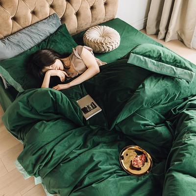 2019丽丝绒意大利绒保暖套件宽边款四件套 1.5m床单款四件套 墨绿