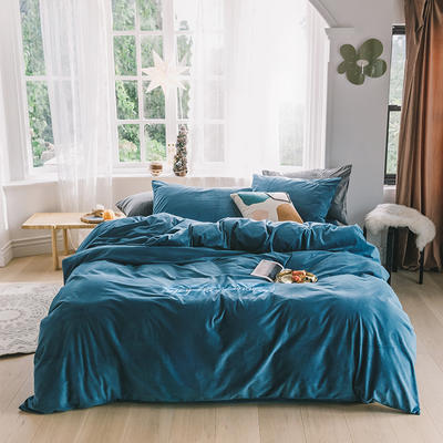 2019意大利绒丽丝绒保暖套件-简约款四件套 1.5m床单款四件套 梦蓝